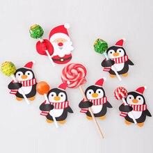 50Pcs סנטה קלאוס פינגווין Lollipop חג המולד כרטיס לולי סוכר כיכר חג המולד המפלגה קישוטי מתנה לבית 2018 מעוטר