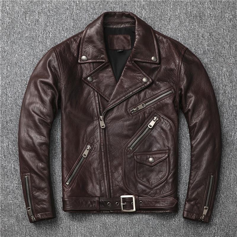 2020 Dark Brown Men American Style Motorcycle Leather Jacket Plus Size XXXXL Genuine Sheepskin Autumn Slim Fit Biker's Coat