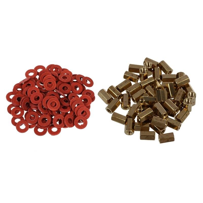 50 Pcs Metal Hex M3 Female Screw PCB Standoff Spacers 8mm Body & 100Pcs Red Motherboard Screw Insulating Fiber Washers