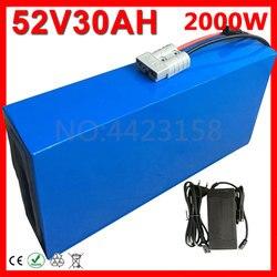 Batterie Lithium-ion, personnalisée, 52V, 20/22/25/30 ah, pour moteur de vélo électrique 1000/2000W, avec chargeur, sans taxes