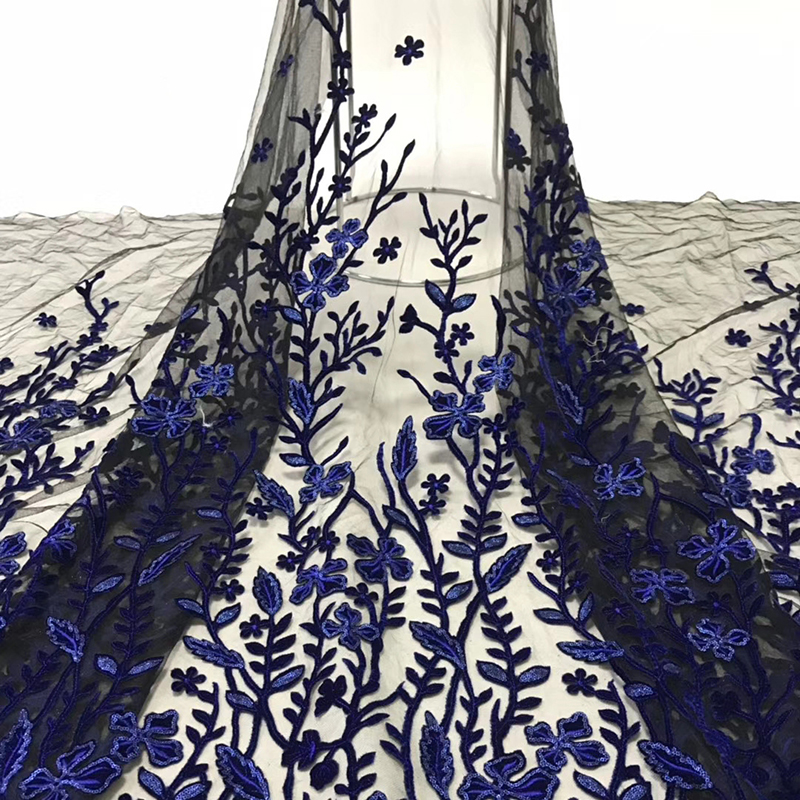 2020 Latest Arrival African Lace Fabric High Quality Swiss Voile Lace Appliques With Sequins Tulle Fabric For Evening Dress