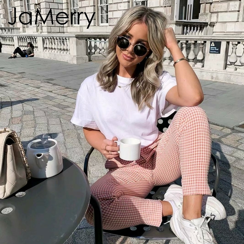 JaMerry Vintage pink plaid casual pants women 2019 Summer work pants capris female Straight office ladies British style trousers