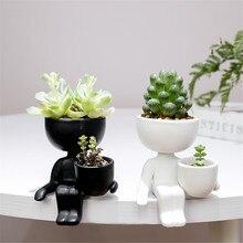 Креатив гуманоид керамика цветок горшок ваза растение горшок керамика поделки мясистый цветок ваза дом украшение