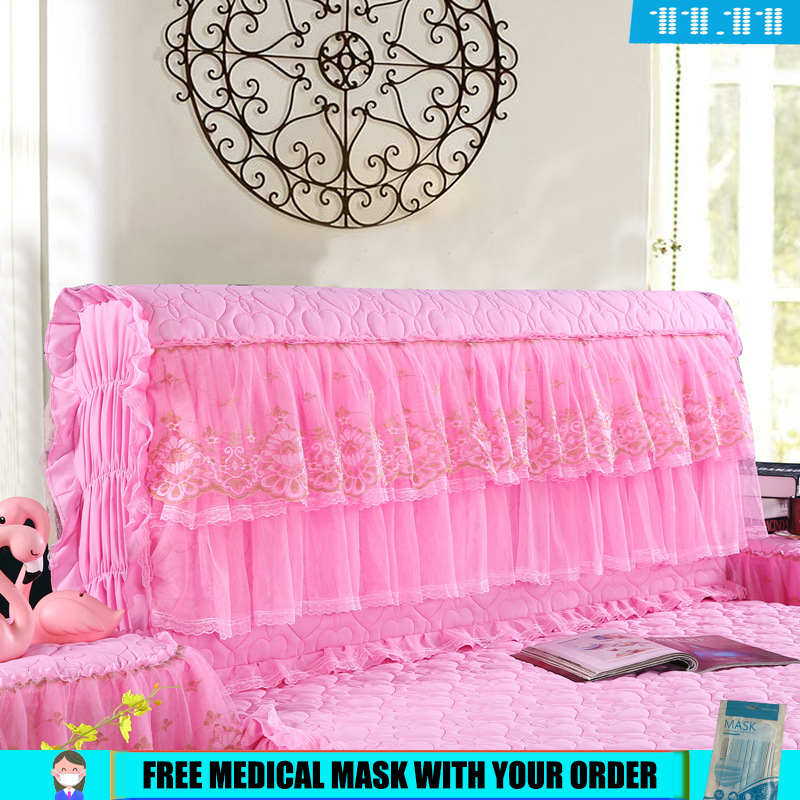 Full Wrap Bedside Cover Lace Cotton Clamping Thickened Bedside Cover Leather Bedside Soft Bag Dustproof Over
