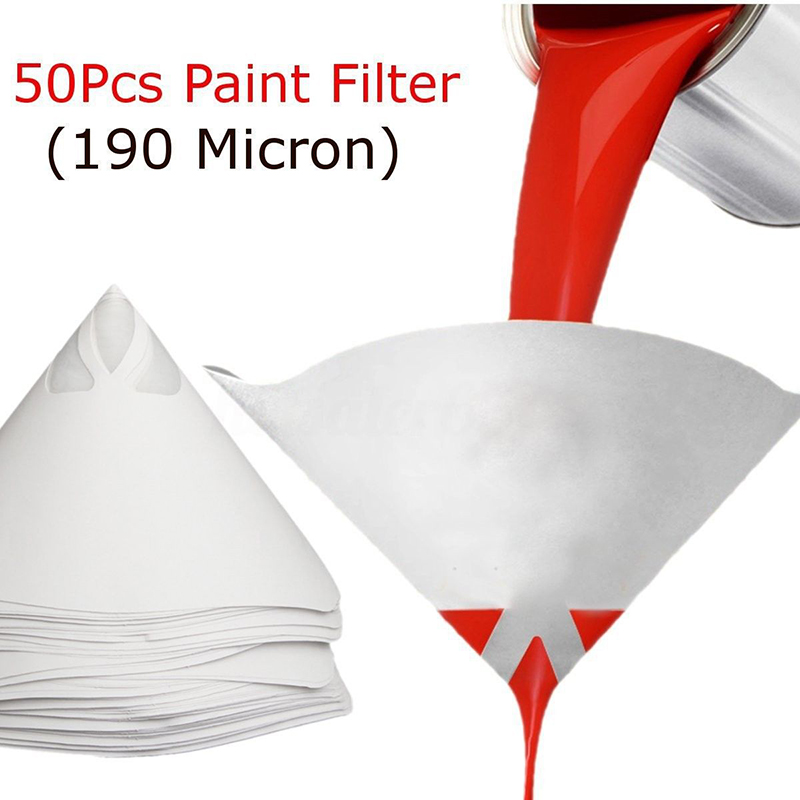 50pcs Nylon Paint Strainer Fine Nylon Paper Paint Strainer Sieve Filter Mesh Cup Coating Cone Funnels 147/190/400 Micron