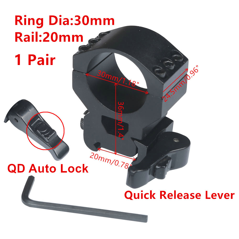 1 pair (2pcs) Heavy Duty Low Profile 6 Bolts 30mm Ring 20mm Weaver Picatinny Rail Scope Mount Lasers Flashlights Hunting Caza(China)