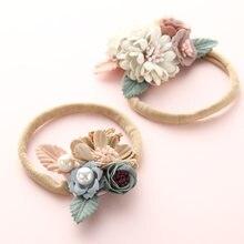 1 шт в лоте цветок нейлоновая повязка на голову с жемчугом винтажном