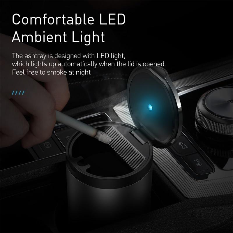 cheapest Baseus Car Ashtray LED Light Alloy Ash Tray Aluminum Cup Portable Smokeless Auto Ashtray Flame Retardant Cigarette Holder Box