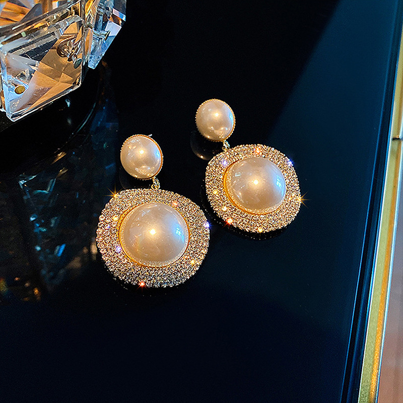 Exknl Long Drop Earrings for Women Big Pearl Round Dangle Earrings Vintage Wedding Sun Earings Brincos Female Fashion Jewelry