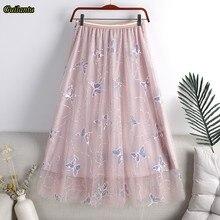 Guilantu Summer Mesh Embroidery Butterfly Sequins Long Skirt Women Elastic High Waisted Tulle Skirts Korean Casual Tennis Skirt