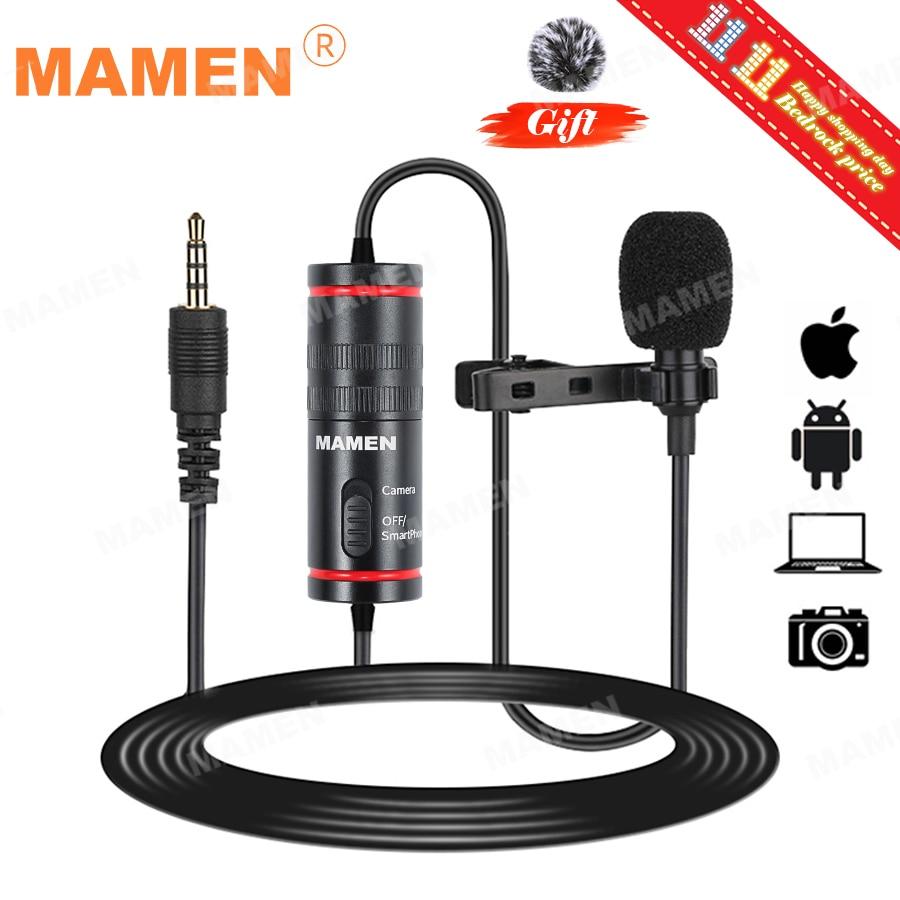MAMEN Microphone 8m Clip-on Lavalier Mini Audio 3 5mm Collar Condenser Lapel Mic for Recording Canon   iPhone DSLR Cameras
