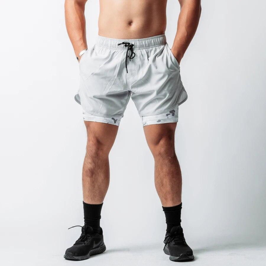 Шорты мужские 2 в 1, камуфляжные, на молнии, с карманами, для бега, спортзала, быстросохнущие, с кулиской для бодибилдинга, летние короткие штаны для бега,