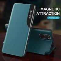 Funda abatible inteligente de cuero para Samsung Galaxy, cubierta con soporte magnético para Samsung Galaxy A 12 32 42 52 S20 FE S8 S9 S10 Note 10 Lite 9 8 20 S21 Ultra Plus