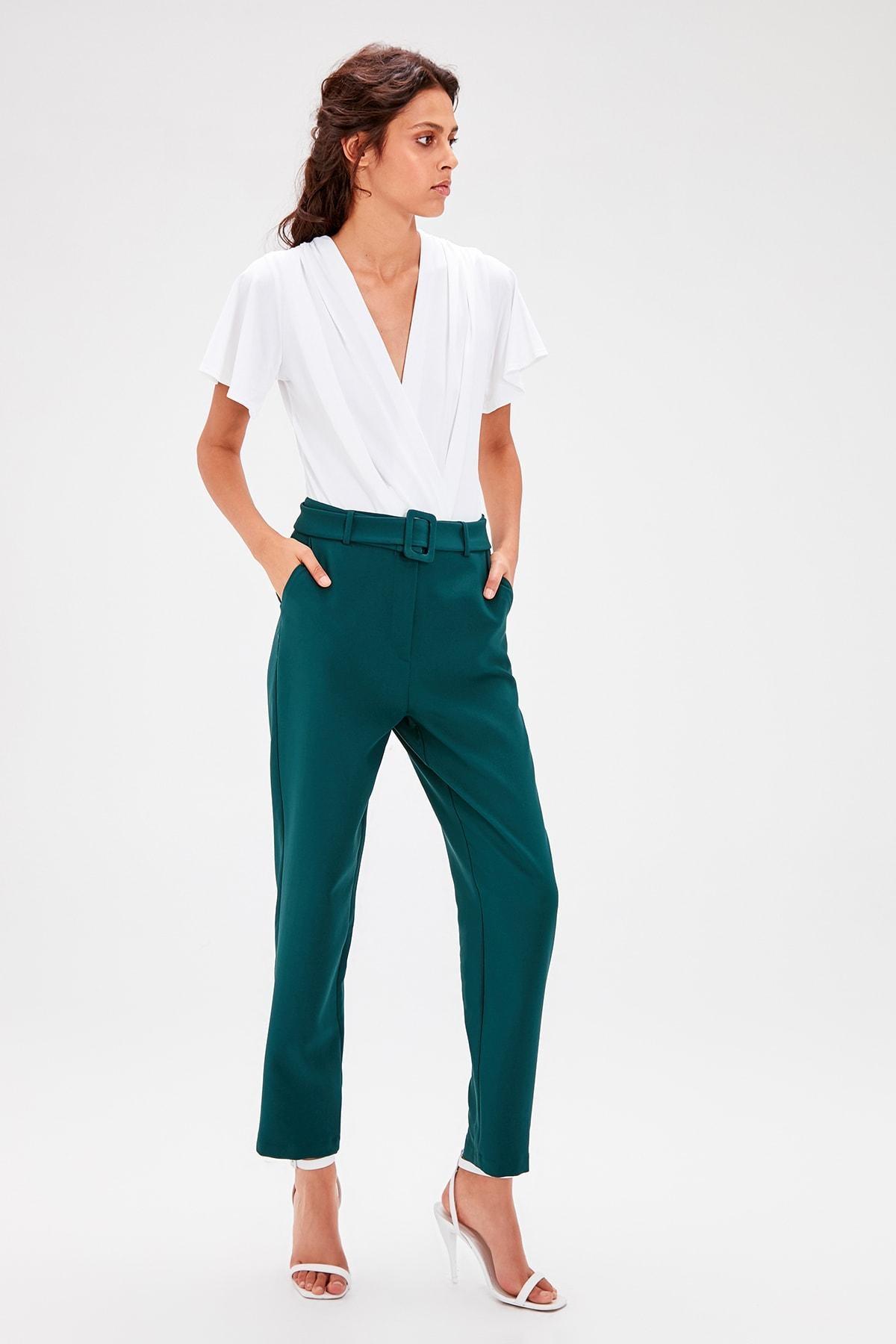 Trendyol Emerald Green Belt Detail Pants TWOAW20PL0112