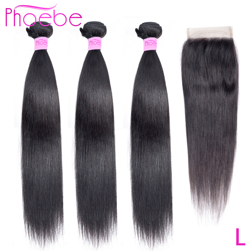 Phoebe Straight 8''-28'' Low Ratio Non-Remy Natural Color Malaysia Hair 3 Bundles With Closure 100% Human Hair For Black Women
