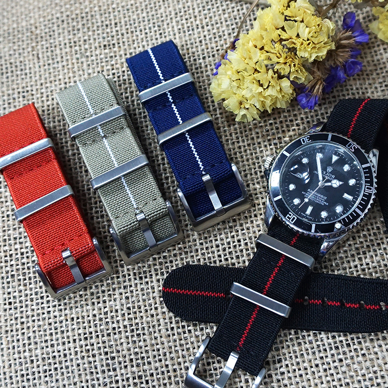 Juelong New Independent Design 2 Ring Nylon Watch Strap French Troops Parachute Bag For Elastic Nato Strap 20mm 22mm