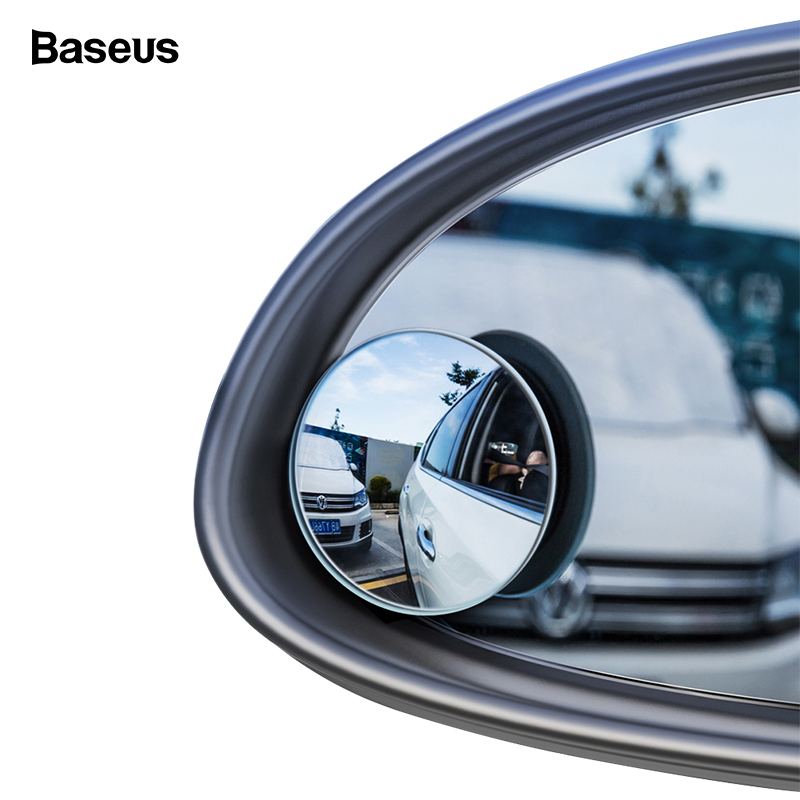 Baseus 2Pcs Blind Spot Convex Mirror For Car HD Round Anti Fog Rear View Mirror Universal Wide Angle Convex Rimless Car Mirror