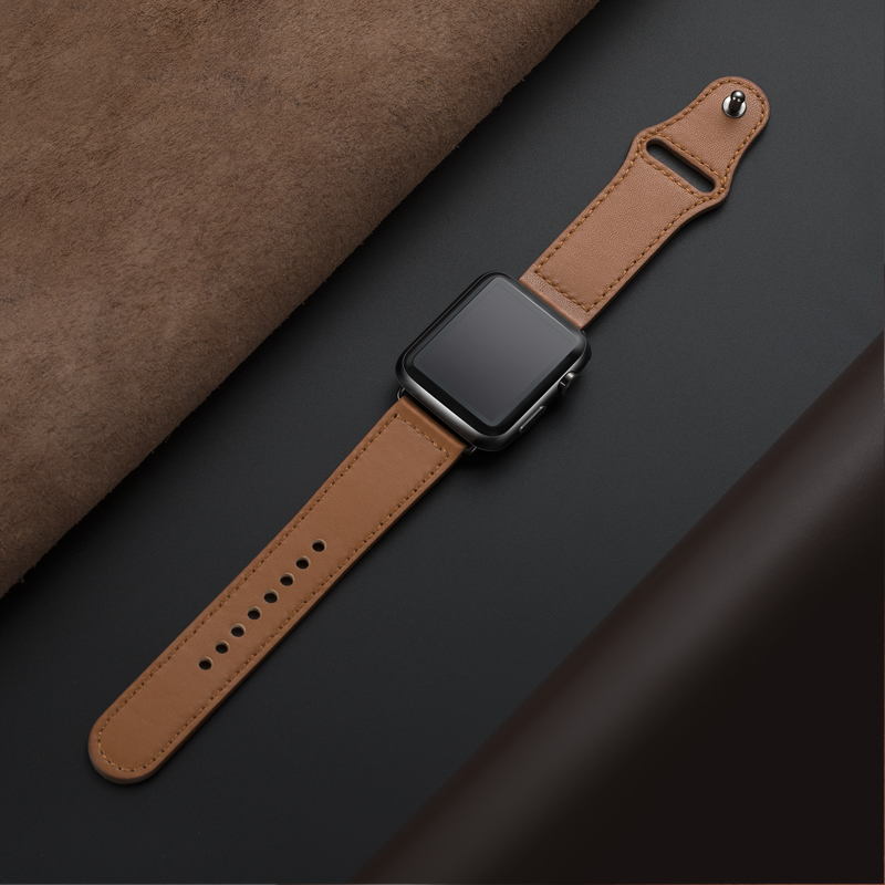 Genuine leather loop strap for apple watch band 44mm 40mm 42mm 38mm iwatch pulseira watchband for apple watch 5 4 3 2 44 mm 40mm(China)