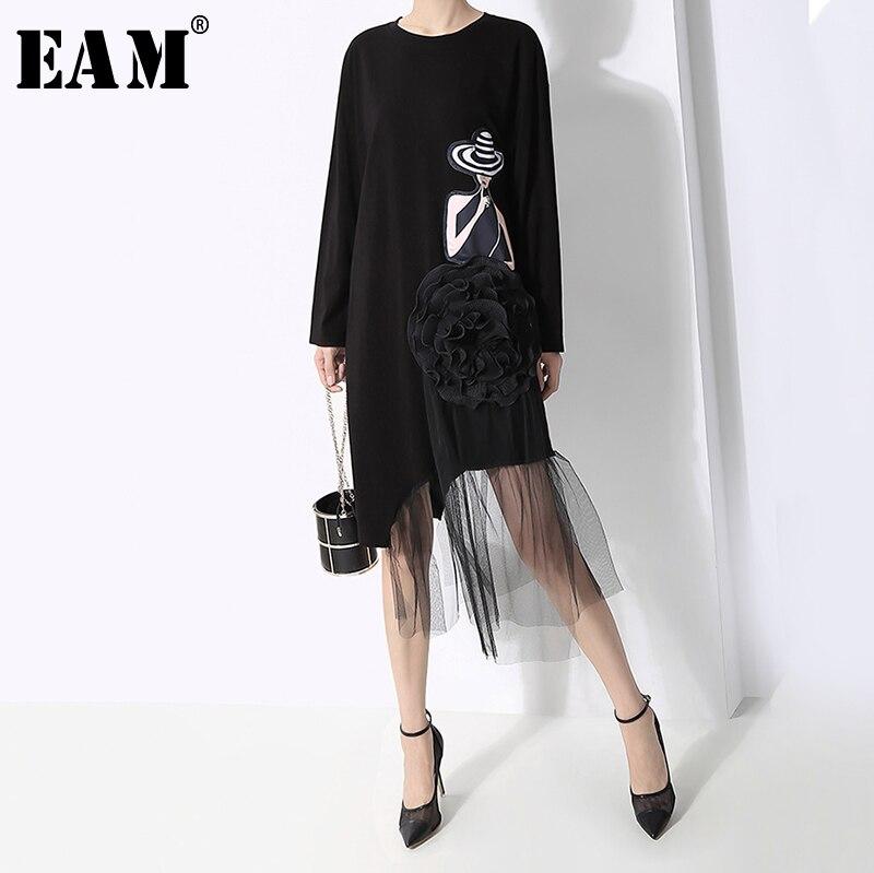 [EAM] Women Mesh Spliced Print Asymmetric Dress New Round Neck Long Sleeve Loose Fit Fashion Tide Spring Autumn 2019 1B253