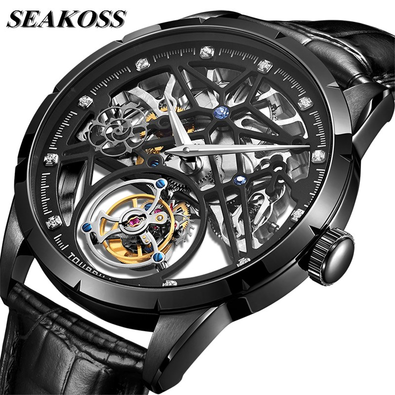 High-end Men's Clear Skeleton Tourbillon Watch Original Tourbillon Hand-Winding Movement Men Mechanical Watches Luminous Hands 1