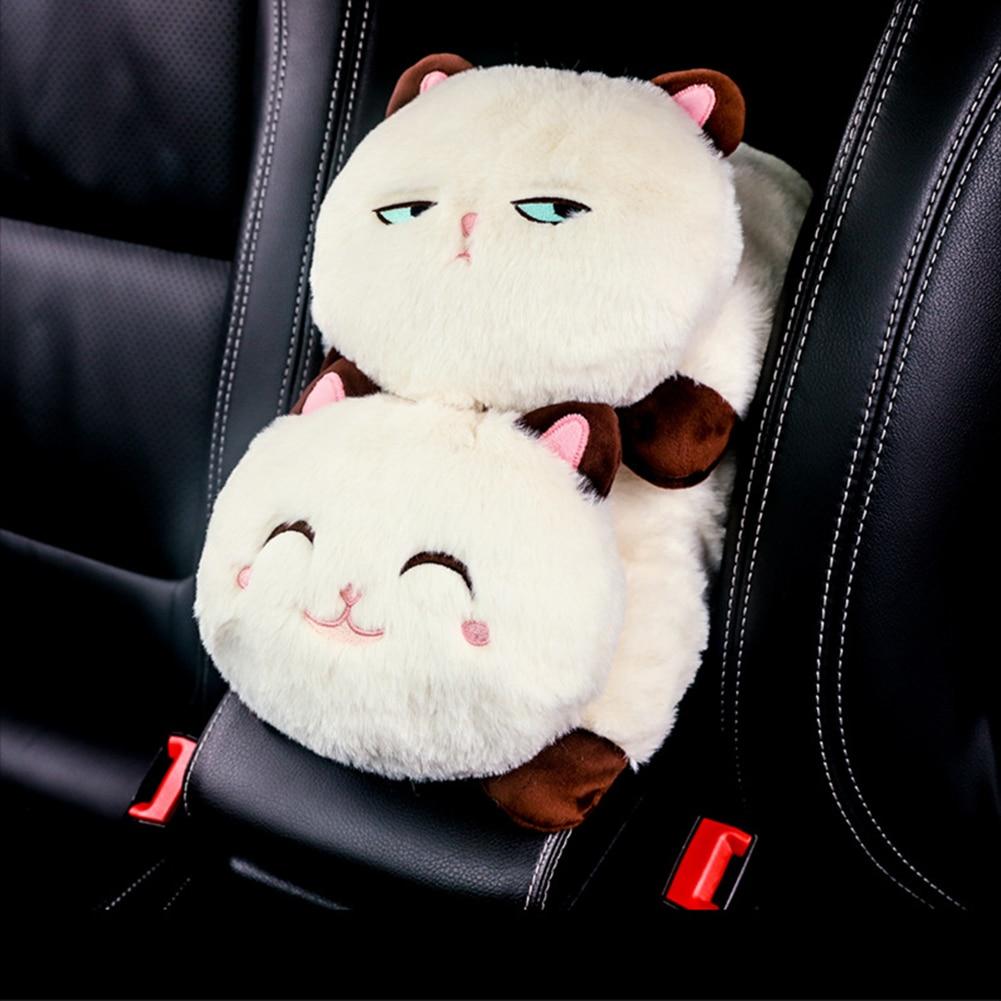 Creative Car Armrest Tissue Box Cute Plush Cartoon Animals Cat Style Multi-use Washable Hanging Napkin Holder for Auto Decor