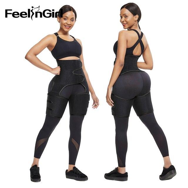FeelinGirl Neoprene Slim Thigh Trimmer Leg Shapers Slimming Belt Waist Trainer Sweat Shapewear Fat Burning Compress Belt 4