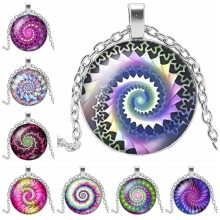 Initial necklace Ethnic Wind Kaleidoscope Series Glass Cabochon Pendant Necklace Charm Rotating Pattern Necklace Jewelry Gift heat 2019 new lightning pattern glass cabochon jewelry necklace pendant popular jewelry gift fashion banquet