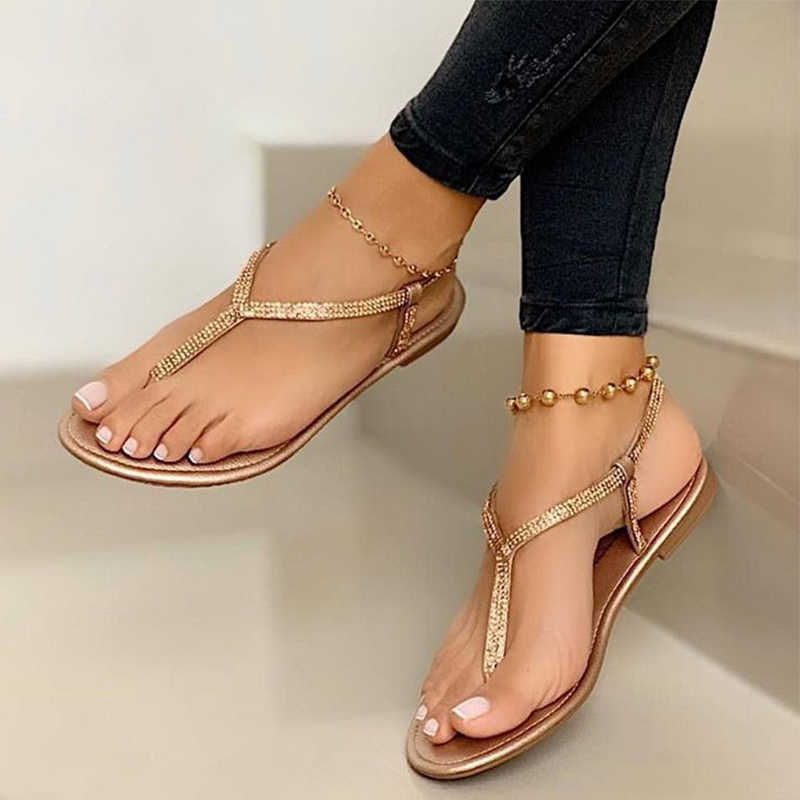 Womens Summer Sandals Rhinestone Crystal Flip Flops Slippers T-strap Shoes Size