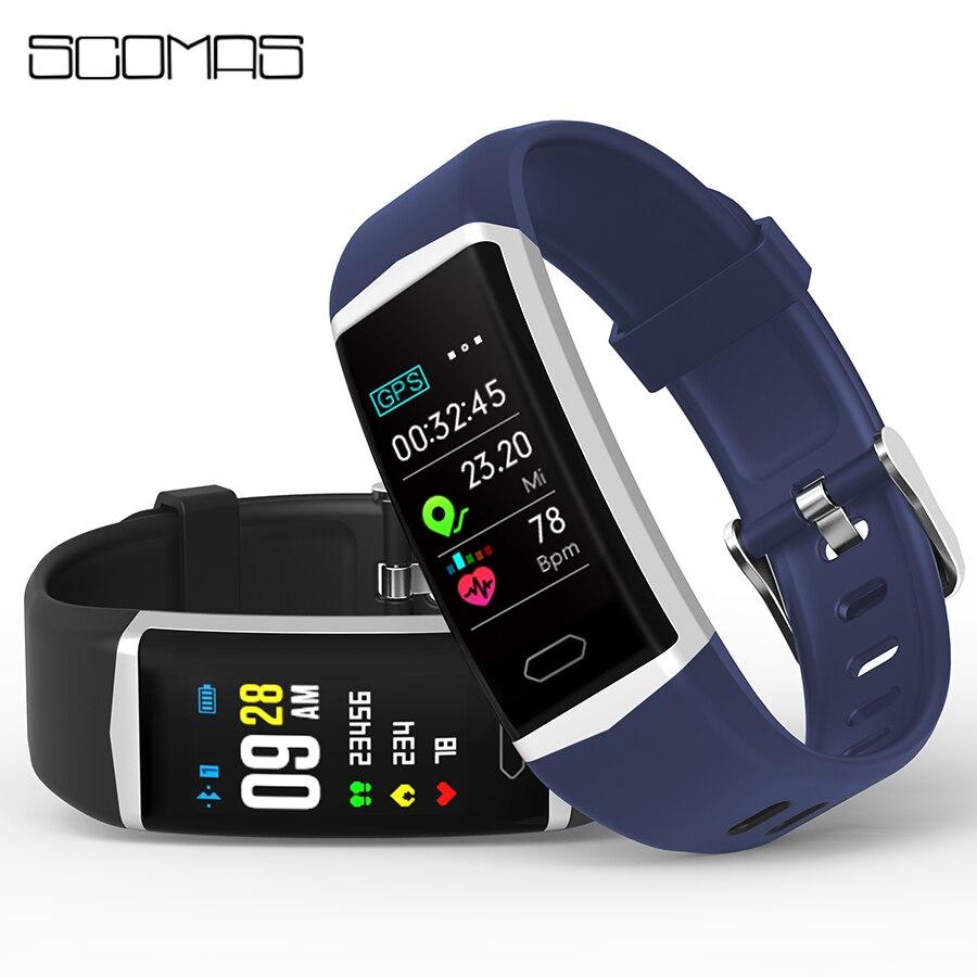 SCOMAS GPS Смарт-часы для мужчин и женщин монитор сердечного ритма кровяное давление фитнес-трекер Смарт-часы ip68 спортивные часы для ios android