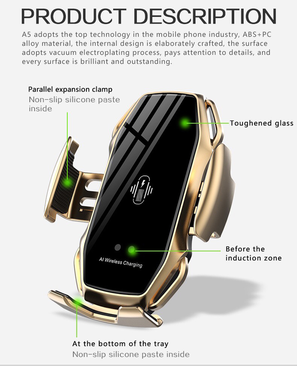 11Two-Point Smart Induction Wireless Charger Car Mount 10W Fast Charge Holder