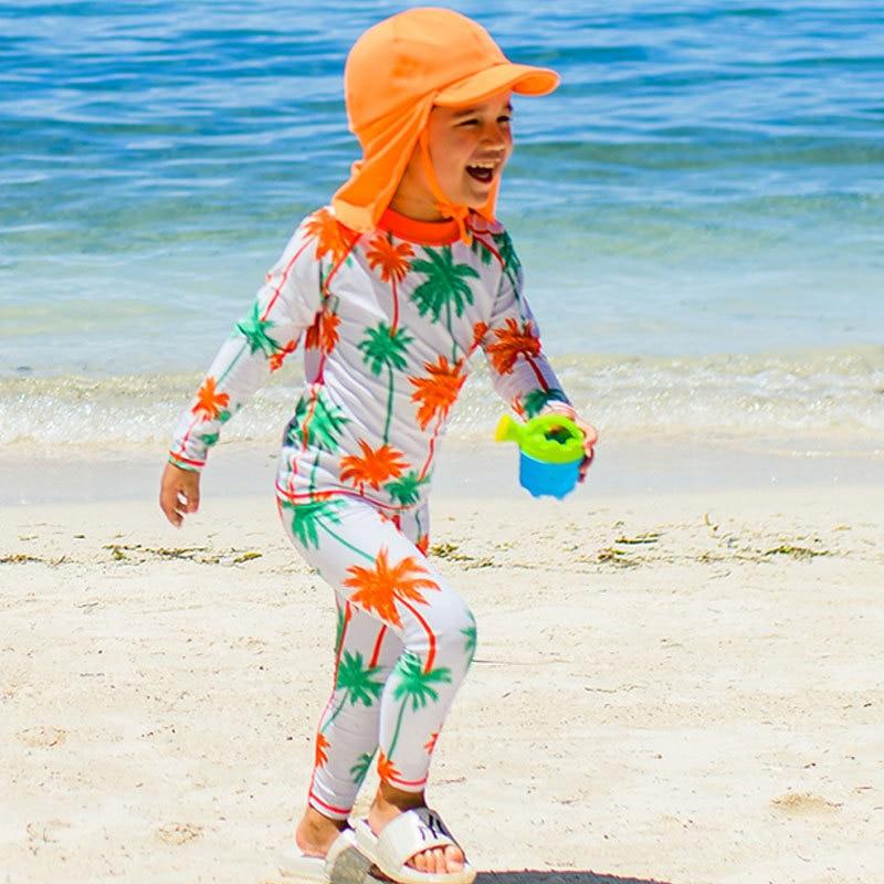 Children Two-piece Swimsuits Big Boy Sun-resistant Long Sleeve Shorts Girls Diving Suit BOY'S Baby Swim Bathing Suit
