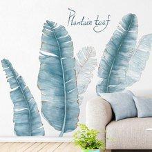 Autocollants muraux en feuille de plante bleue, Stickers muraux de Style nordique, pour chambre à coucher, salon, canapé, arrière-plan de télévision, autocollants muraux amovibles, Mur d'art