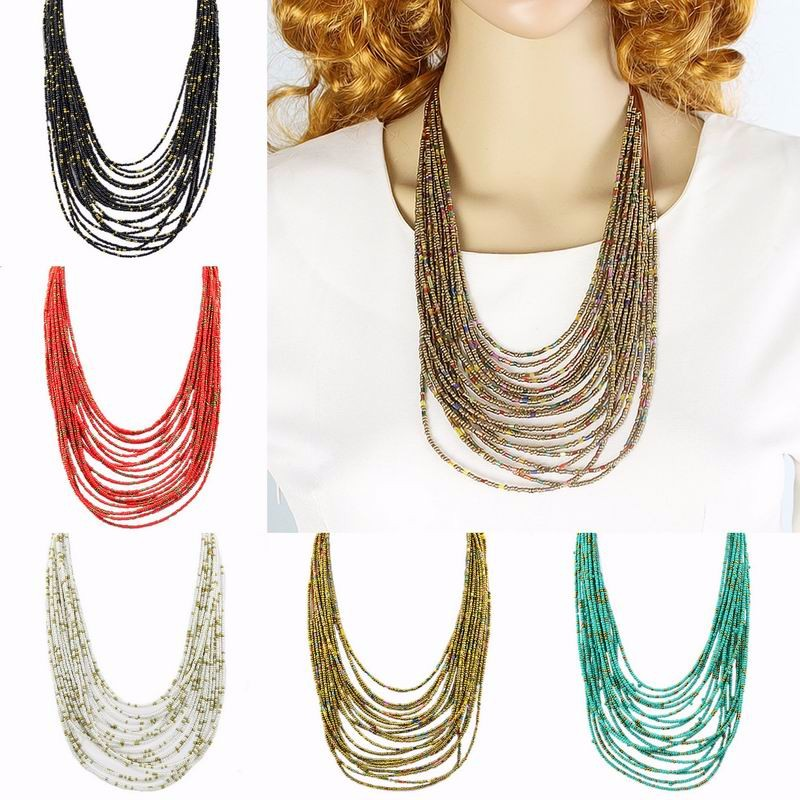 Retro Exaggerated Personality Necklace Bohemian Drop New Multi-Layer Rice Beads Necklace Jewelry Accessories