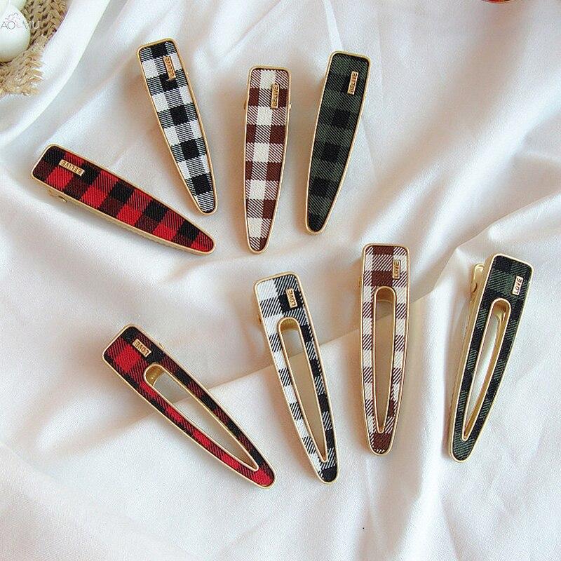 AOMU 1PC Vintage Plaid Hair Pins Geometric Waterdrop Barrettes Metal Gold Color Hair Clips Hairpins Women Hair Accessories