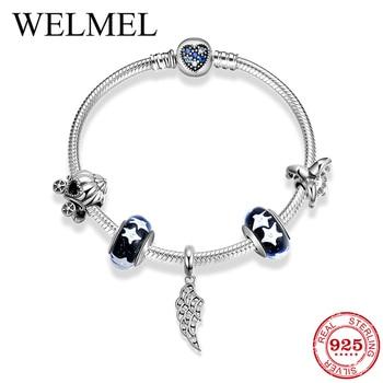 Wholesale Fashion Charms Bracelets & Bangles Women 925 Silver Pumpkin car angel wings Beads Bracelets for Women Fine Jewelry