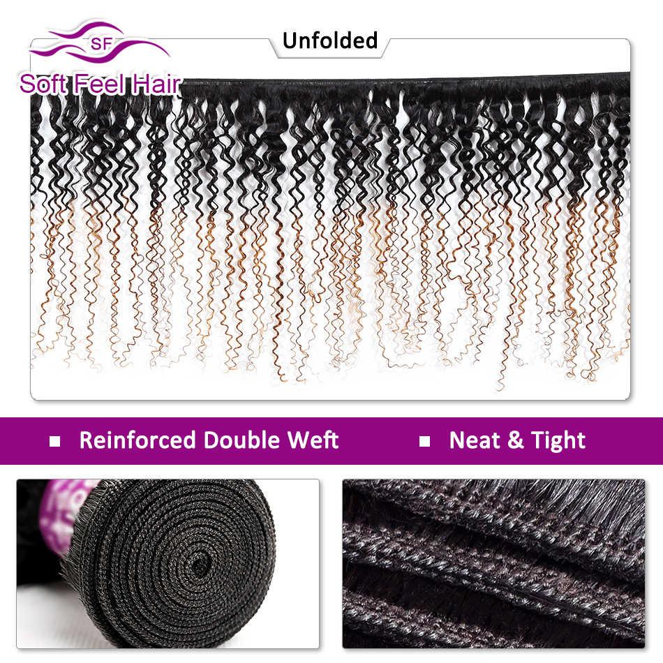 A sensação macia do cabelo ombre cabelo brasileiro tecer pacotes 1b/30 ombre kinky encaracolado tecer cabelo humano 3 pacotes de cabelo remy dois pacotes tom
