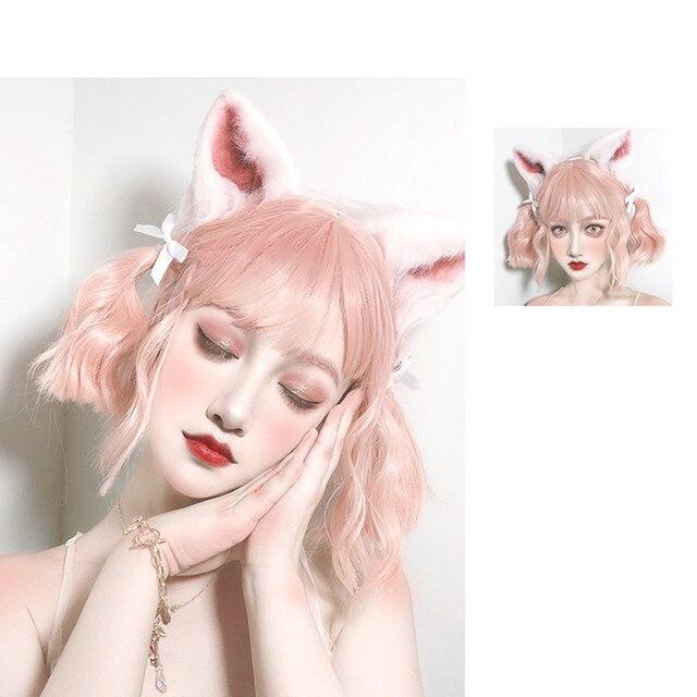 Lunga parrucca ondulati corti parrucca Lolita Parrucca Sintetica Resistente Al Calore Dei Capelli Del Anime Del Partito parrucche 26 colore Colorato