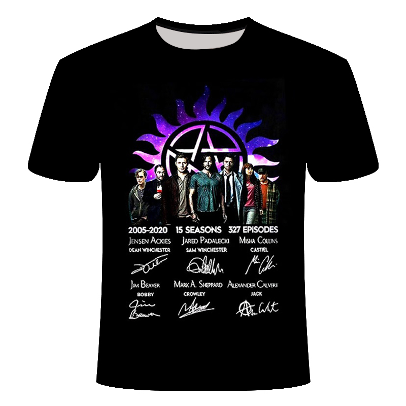 2019 Supernatural 2005-2020 15 Seasons 327 Episodes Thank You Signature Shirt Men'S Short Sleeve Polyester Fabric T Shirt 6xl