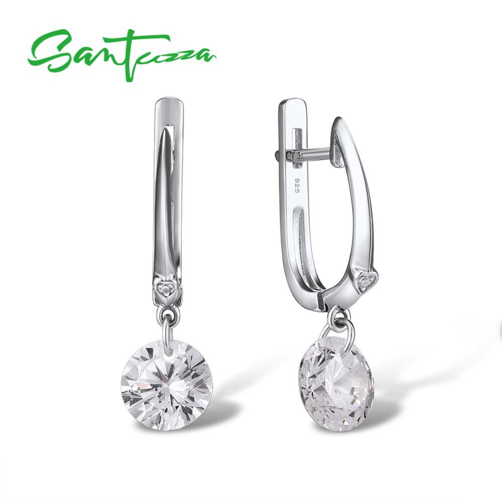 SANTUZZA Silver Earrings For Women Pure 925 Sterling Silver Sparkling White Cubic Zirconia Drop Earrings Stunning Fine Jewelry
