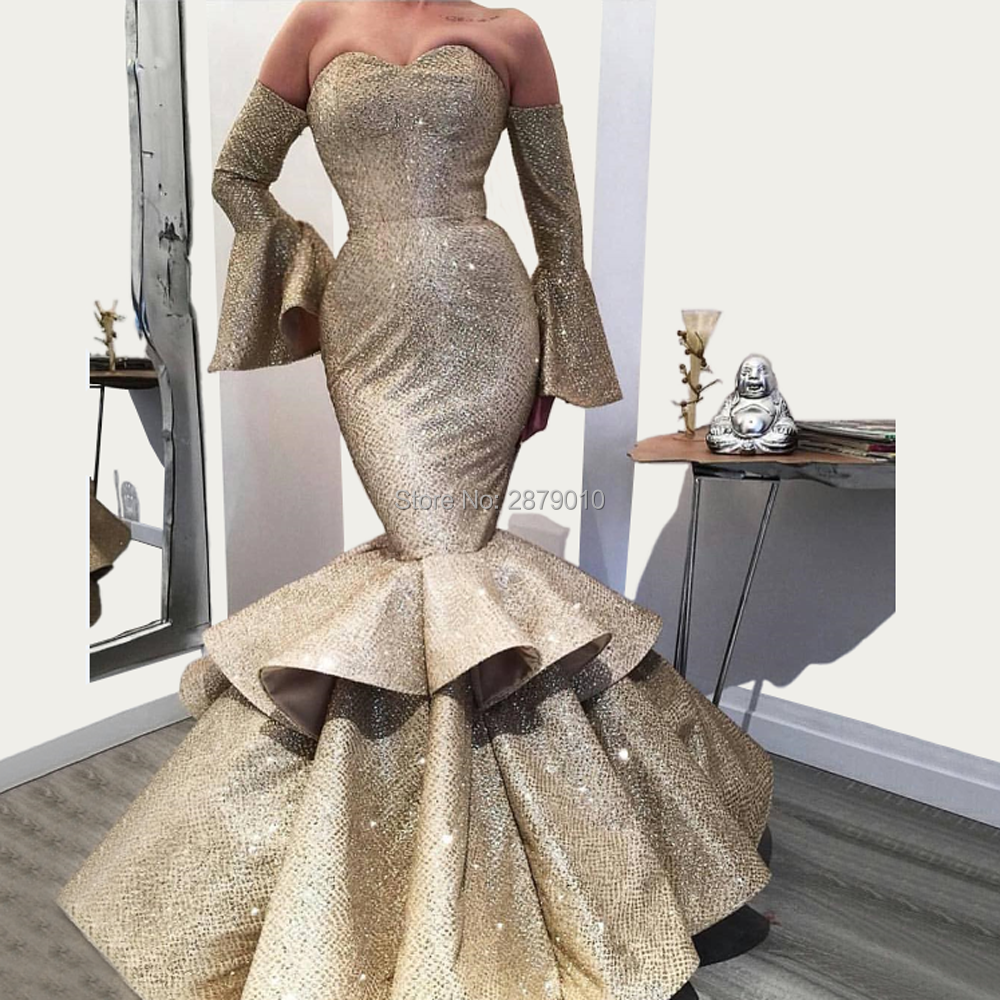 Sweetheart Champagne Mermaid/Trump Off The Shoulder Evening Dress Satin Metal Spraying Full-length Tiered Prom Dress Zipper