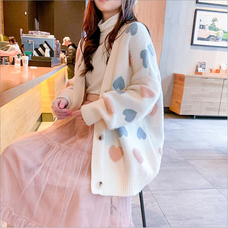 Sweater Coat Female 2019 New Spring And Autumn Knitted Cardigan Solid Color Long-sleeved Love Pattern Wide Sweater