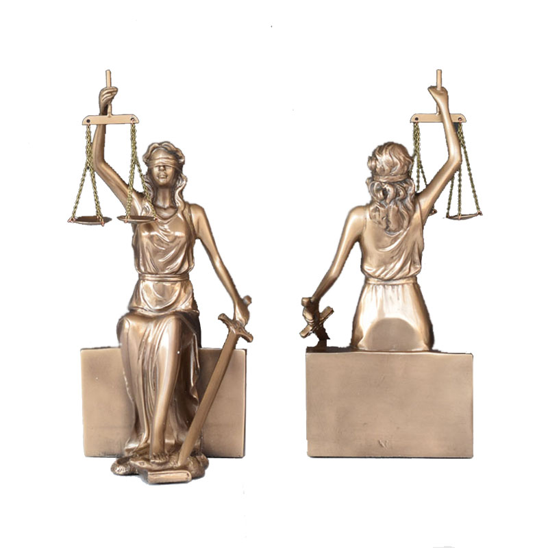 Creative Imitation Bronze Statue Goddess Justice Bookcase Office Presents Gifts Lawyers Goddess Justice Decoration Crafts R2675 image