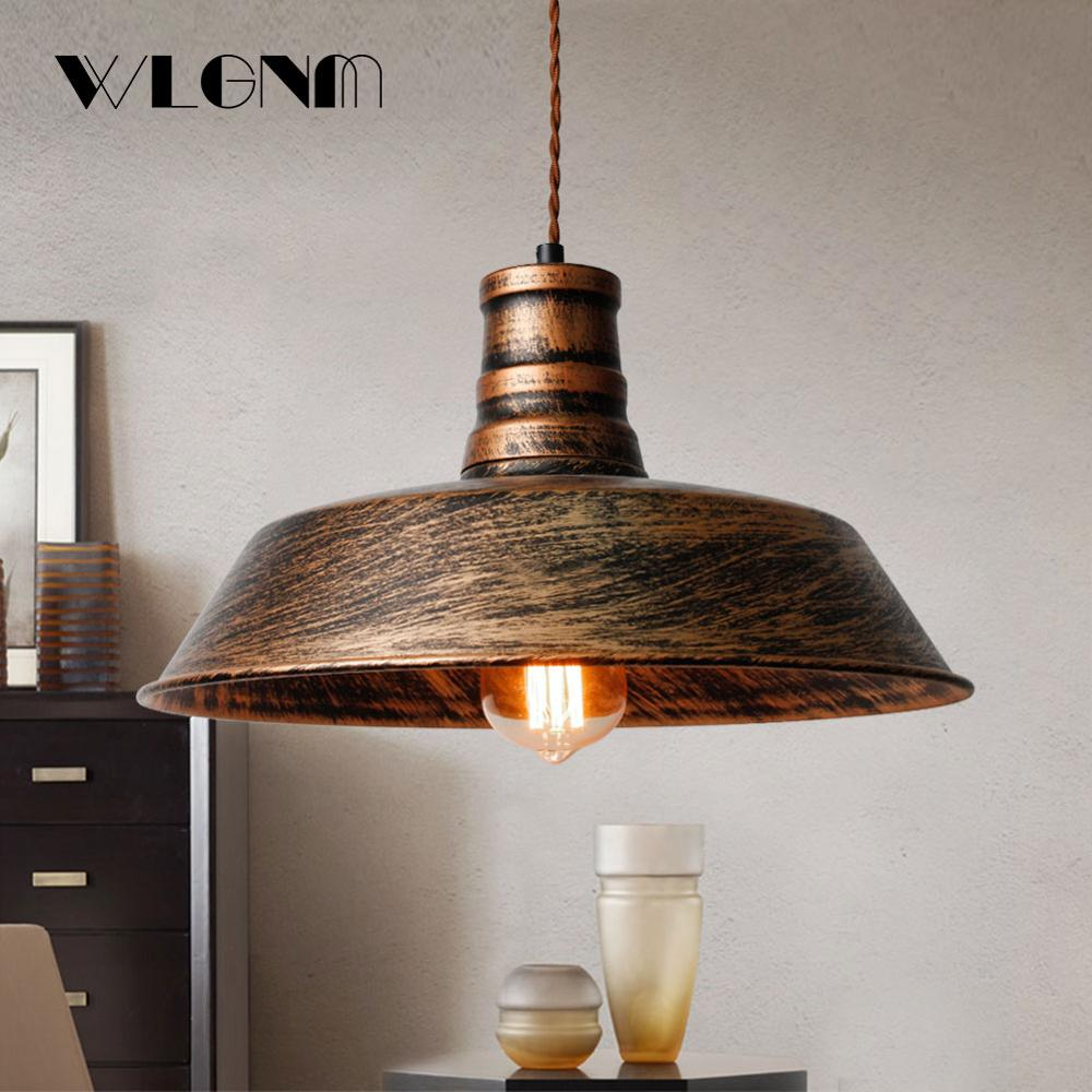 Vintage Pendant Lights For Living Room,Retro Industrial Pendant Lamp,Rust Hanging Lamp,E27 26/36cm Braided Wire,for Home$store