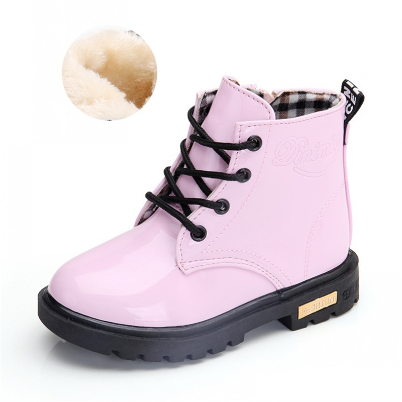 NEW 2020 Girls Leather Boots Boys Shoes Spring Autumn PU Leather Children Boots Fashion Toddler Kids Boots Warm Winter Boots 3BB 4