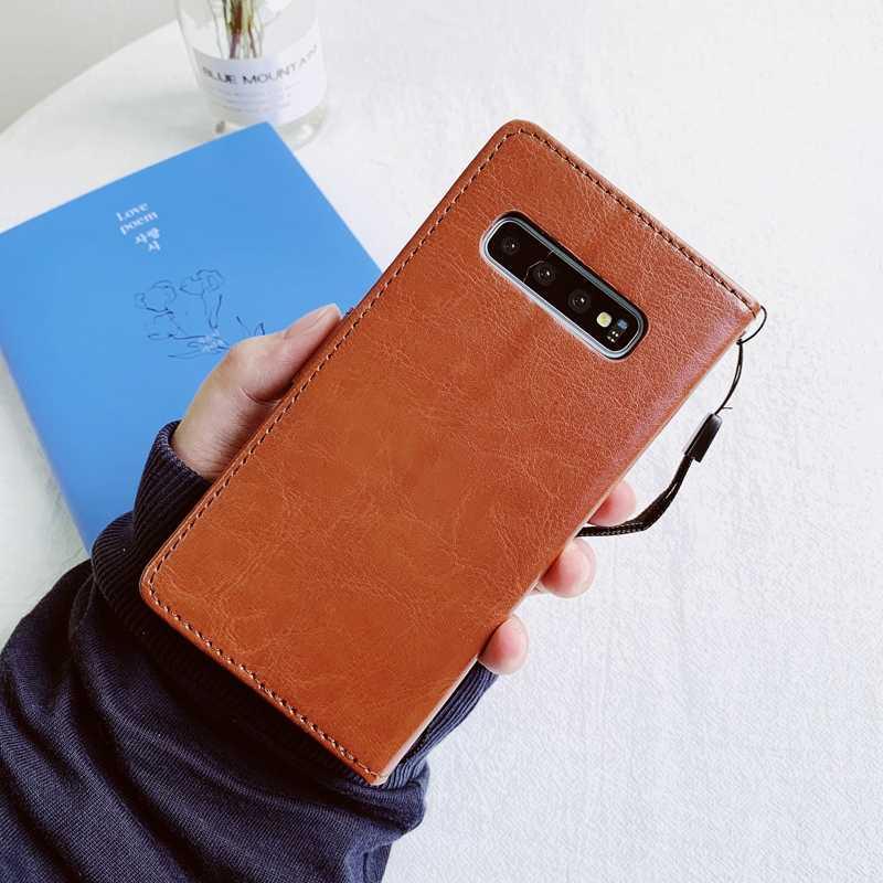 กระเป๋าสตางค์หนังสำหรับ Samsung Galaxy S7 EDGE S10e S10 S8 S9 PLUS A50 A50S A40 A30 A20 A10 A70 a20e 2019 Flip Soft TPU COVER