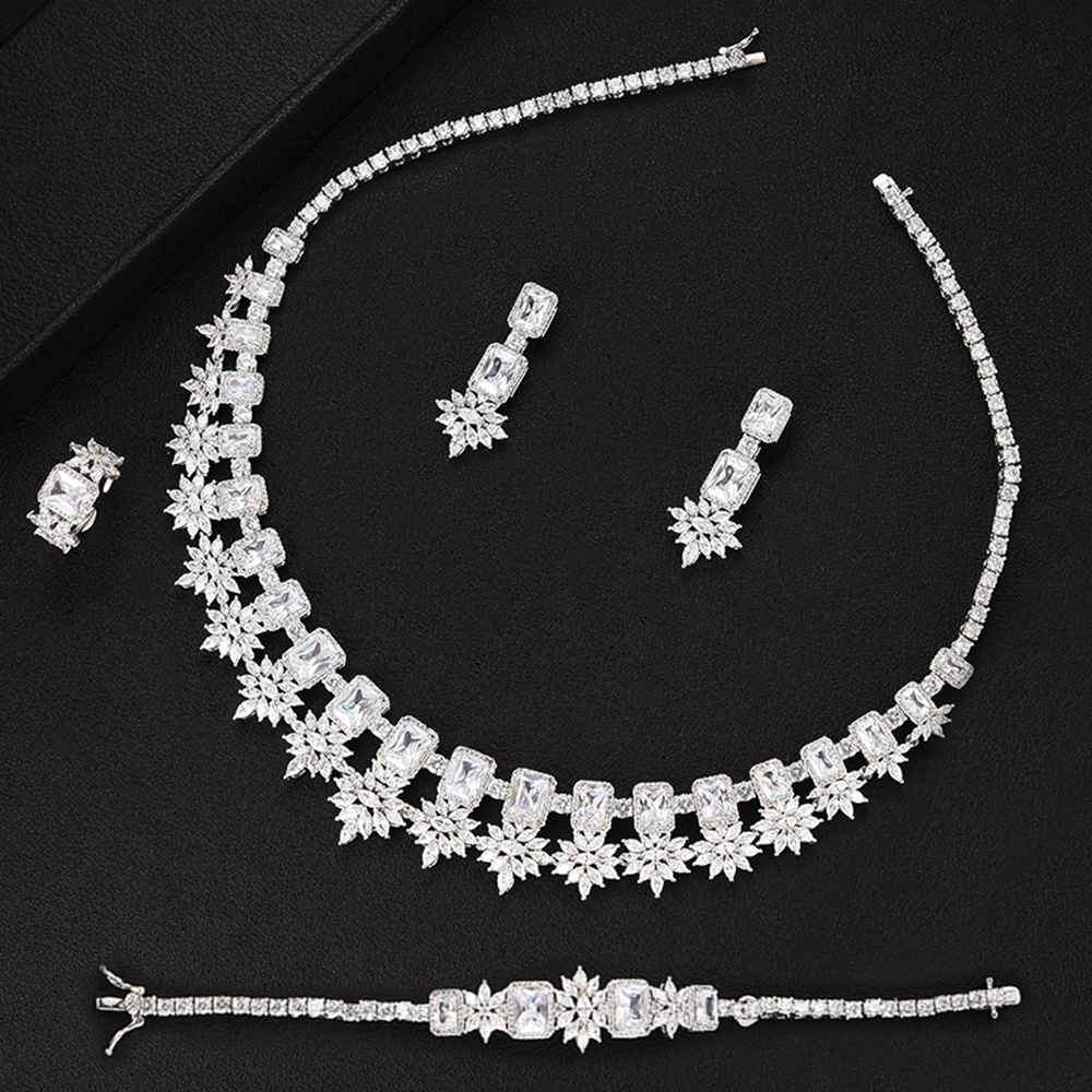 Godki Gorgeous Luxury 4pcs Clear Bangle Ring Necklace Dangle Earring Jewelry Set For Women Bridal Wedding Jewelry Sets Bridal Jewelry Sets Aliexpress