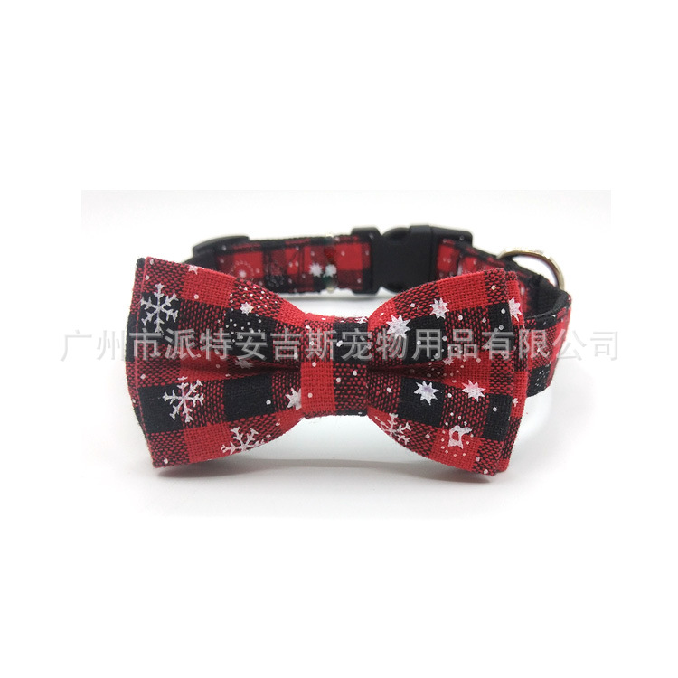 Christmas Bow Pet Collar Dog Accessories Pet Supplies Fashion Dog Bowtie Nylon Collar