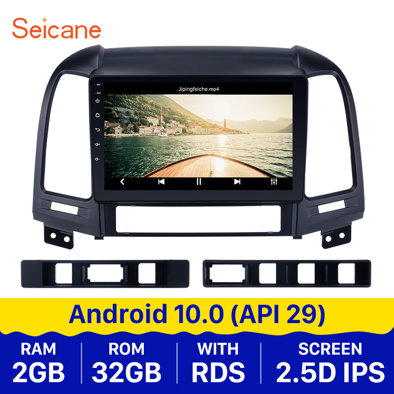 Seicane Android 10.0 9 Inch 2din Car Multimedia player <font><b>GPS</b></font> Navi For <font><b>HYUNDAI</b></font> <font><b>SANTA</b></font> <font><b>FE</b></font> 2005 2006 2007 2008 2009 <font><b>2010</b></font> 2011 2012 image