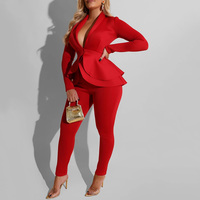 Two Piece Pants Set Women Outfits Sexy V Neck Office Ladies Long Sleeve Ruffles Top Pantsuit Female Autumn Winter Party Club