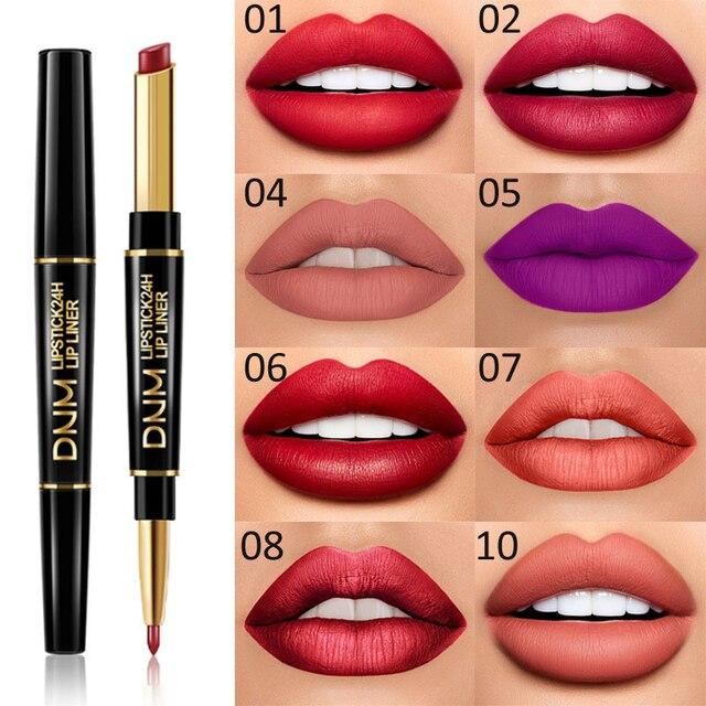 Waterproof Matte Lipstick Pencil Lip Liner Makeup  5